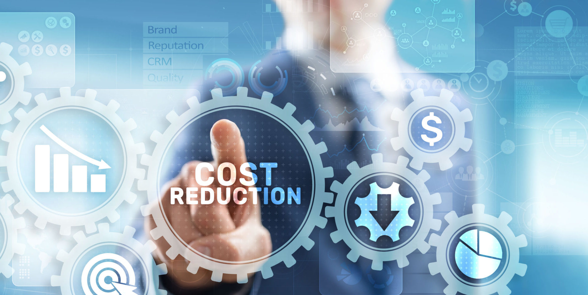 """Person selecting a """"Cost Reduction"""" icon"""